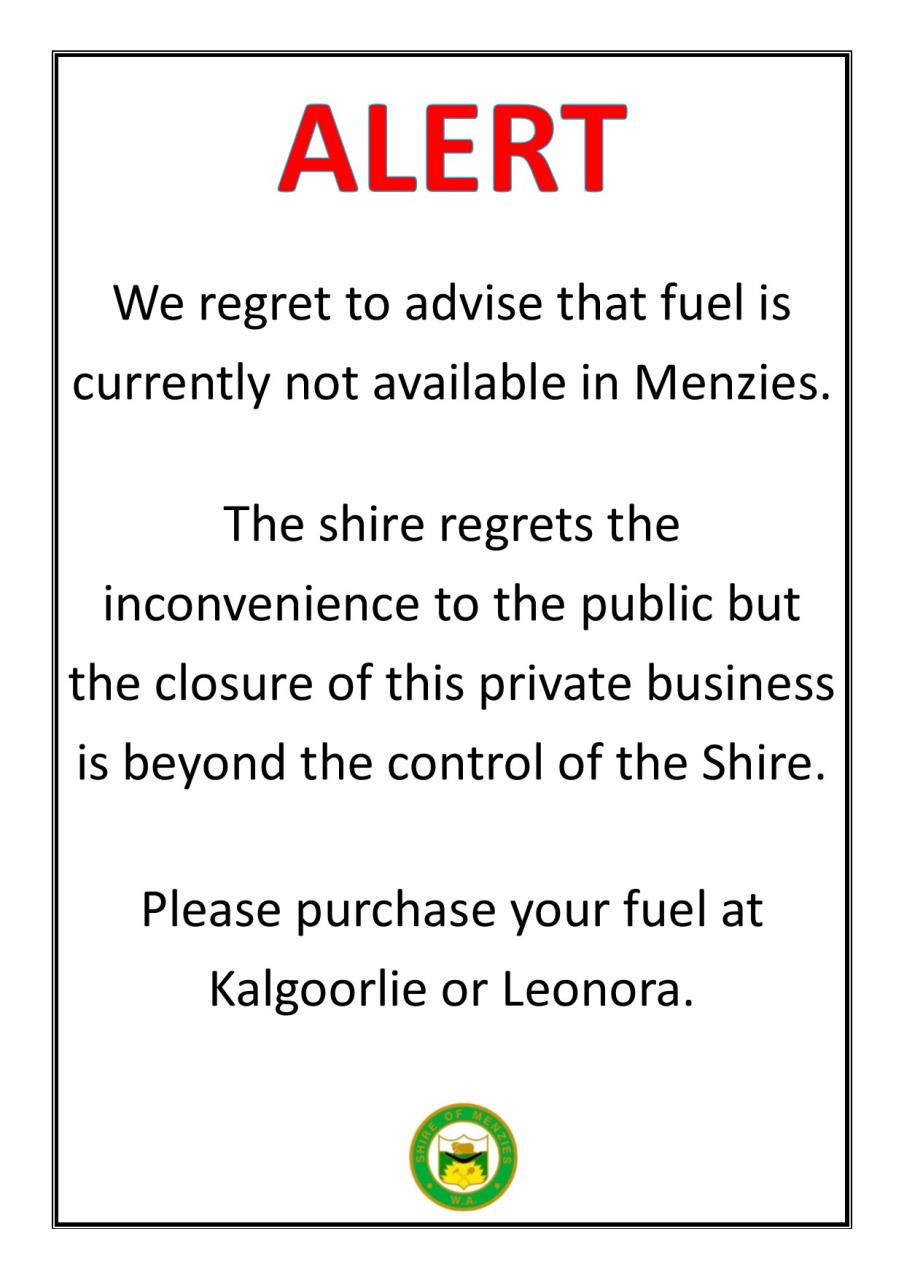 No fuel in Menzies